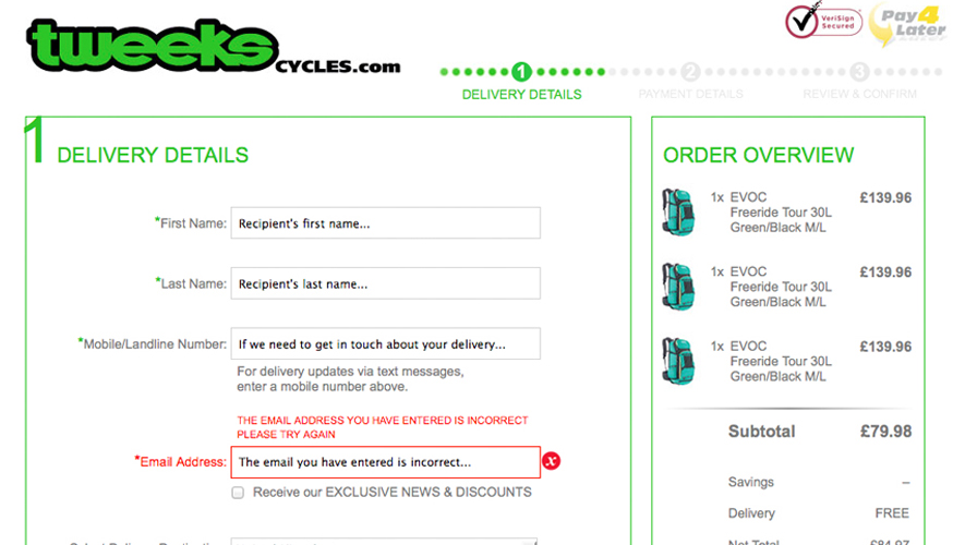 Demon Tweeks Delivery Page Design
